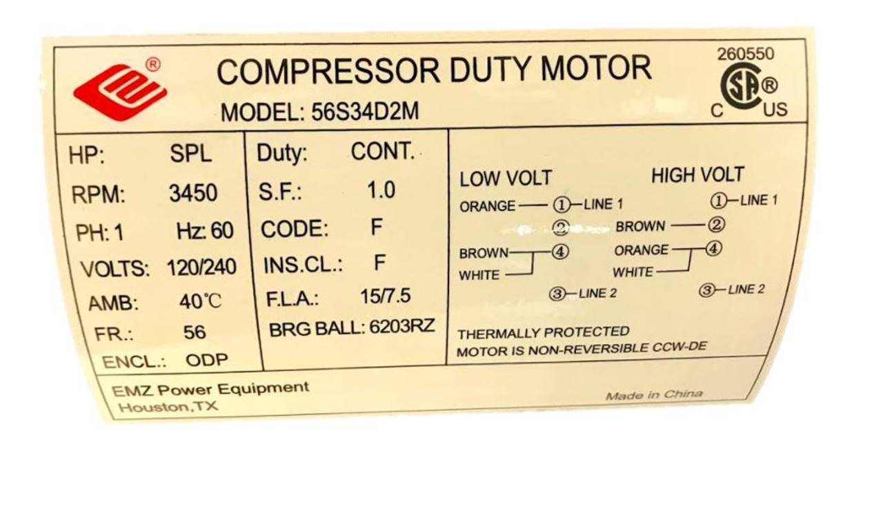 2 Hp Spl Compressor Duty Electric Motor 3450 Rpm 56 Frame 5 8 Shaft 120 240 V Industrial Equipment Expert