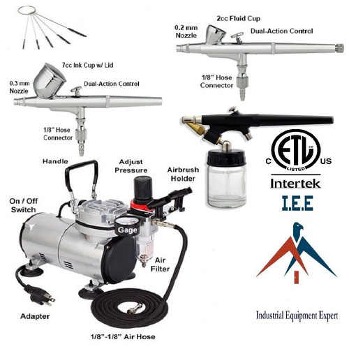 Quality Dual-Action-Airbrush-Kit-with-3-Guns ETL Certified