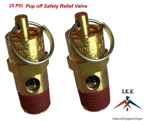 "1/4"" NPT 25 PSI Air Compressor Safety Relief Pressure Valve, Tank Pop Off 2pc"