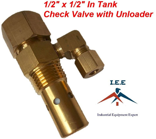 """AIR COMPRESSOR IN TANK CHECK VALVE 1/2"""" X 1/2"""" FLARE with Unloader"""