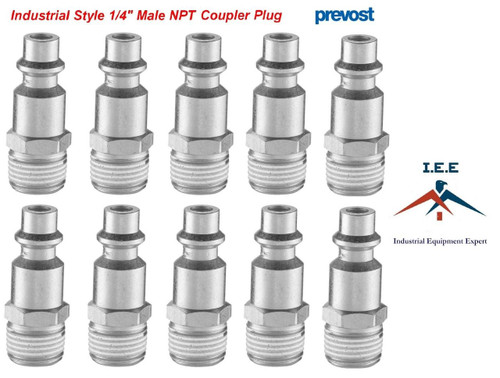 "10 Pack Prevost 1/4"" NPT High Flow Industrial Style Male Thread Plug IRP 066251"