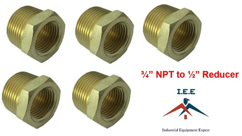"""3/4"""" NPT to 1/2"""" Pipe Bushing Adapter Convert 1/2 Male to 3/4 Male Solid Brassx5"""