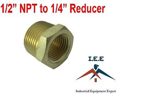 """Reducer Metals Brass Threaded Pipe Fitting, Hex Bushing 1/2"""" Male x 1/4"""" Female"""