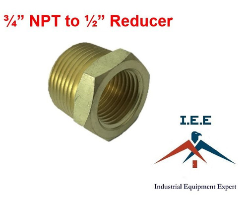 """3/4"""" NPT to 1/2"""" Pipe Bushing Adapter Convert 1/2 Male to 3/4 Male Solid Brass"""