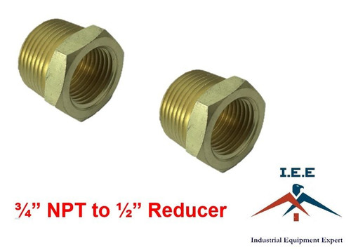 """3/4"""" NPT to 1/2"""" Pipe Bushing Adapter Convert 1/2 Male to 3/4 Male Solid Brassx2"""