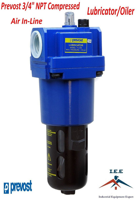 "Prevost 3/4"" Compressed Air In-Line Oiler / Lubricator Inline Oil Lubrication"
