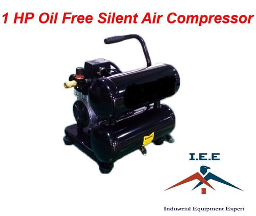 1 HP Oil Free Silent Air Compressor Twin Stack 4.2 Gallon Ultra Quiet & Oil Free