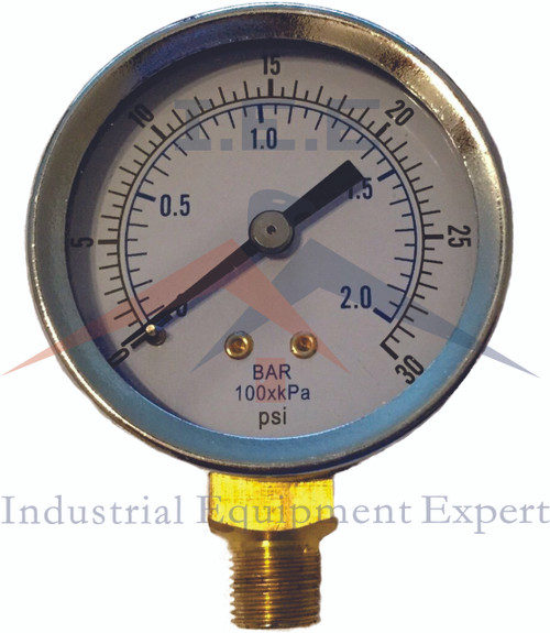 "1/8"" NPT Air Compressor / Hydraulic Pressure Gauge 0-30 PSI Side Mount 2"" Face"