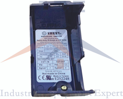 Heavy Duty Air Pressure Control Switch, Sunny H4, 4 port, 140-175 PSI, 25 Amp
