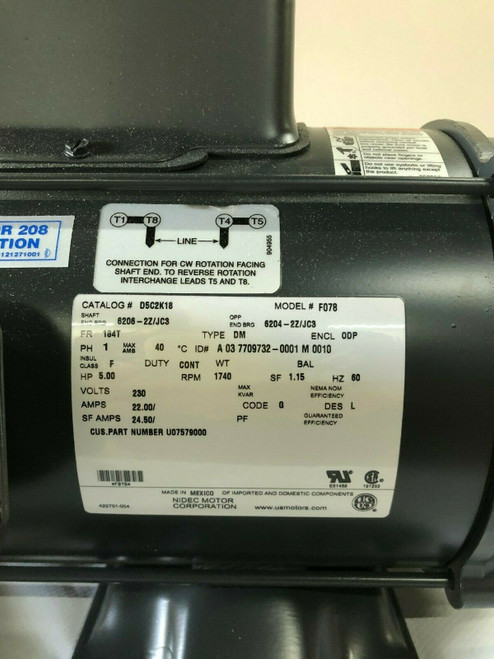 D5C2K18 5HP Air Compressor Electric Motor single phase 1725 RPM 184T ODP 22 AMP