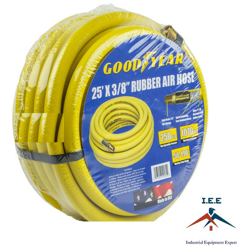 """Good Year 25' x 3/8"""" 250 PSI Rubber Air Compressor Hose Goodyear USA Made 12182"""