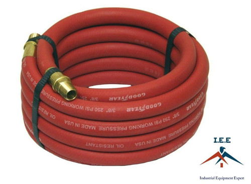 """Good Year 15' x 3/8"""" 250 PSI Rubber Air Compressor Hose 12175 Goodyear USA Made"""