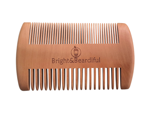 Bright and Beardiful branded antistatic wooden double beard comb