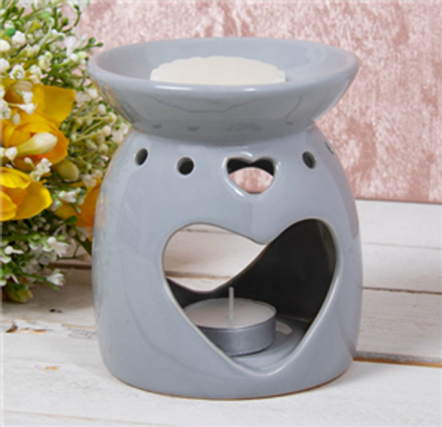 Grey Heart Cut Out Shaped Wax Melt Burner Only £9.50