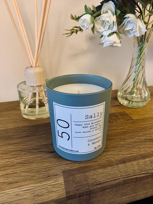 50th Birthday Gift - Personalised Candle