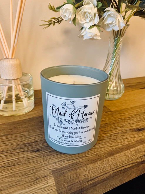 Maid of Honour Thank you Gift - Personalised Candle