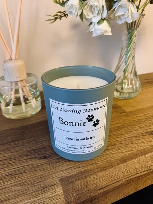 Pet Loss Memorial Personalised Candle