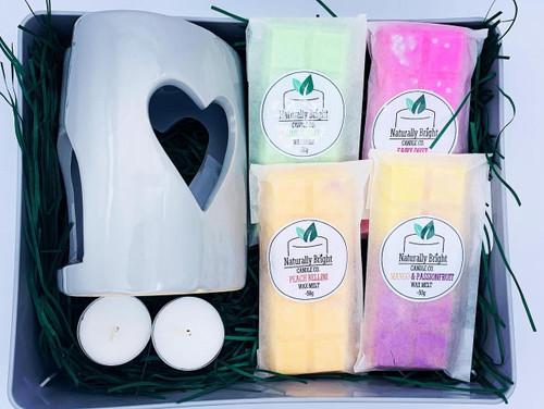 Wax melt gift set with a grey heart wax melt burner