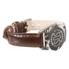 Stainless Steel SOS Talisman Watch Style Nappa Polished Leather Strap - 12mm