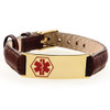 10mm Leather Bracelet With Gold Tag