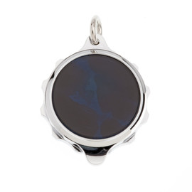 Chrome Plated SOS Talisman Pendant - Blue - Coloured