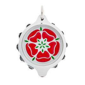 Chrome Plated SOS Talisman Pendant - Tudor Rose Red - Coloured