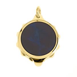 Gold Plated SOS Talisman Pendant - Blue - Coloured