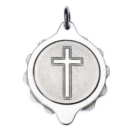 Chrome Plated SOS Talisman Pendant - Christian Cross