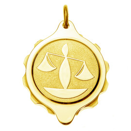 Gold Plated SOS Talisman Pendant - Zodiac Libra
