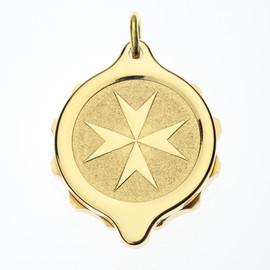 Gold Plated SOS Talisman Pendant - St. John / Malta Cross