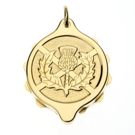 Gold Plated SOS Talisman Pendant - Scots Thistle