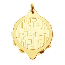 Gold Plated SOS Talisman Pendant - Modern Design