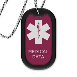 Maroon Medical Dog Tag - Filled