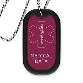 Maroon Medical Dog Tag - Outline