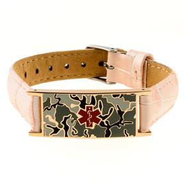 Pink Camo Leather Crocodile Strap