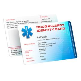 Drug Allergies Identity Card