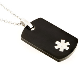 Black Dog Tag Engraveable Pendant