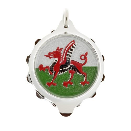 Chrome Plated SOS Talisman Pendant - Welsh Dragon - Coloured