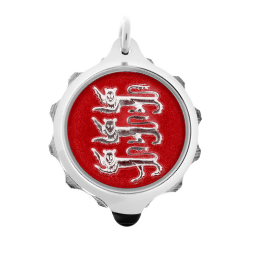 Chrome Plated SOS Talisman Pendant - 3 Leopards Red - Coloured