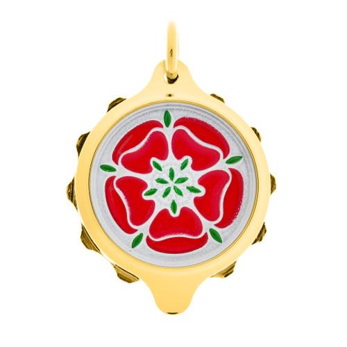 Gold Plated SOS Talisman Pendant - Tudor Rose Red - Coloured