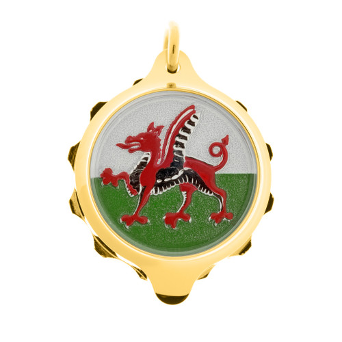 Gold Plated SOS Talisman Pendant - Welsh Dragon - Coloured
