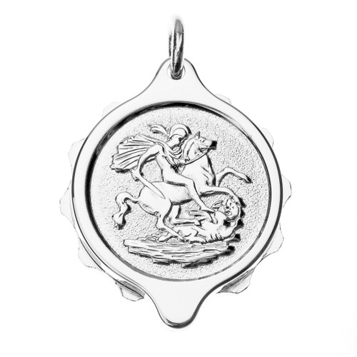 Chrome Plated SOS Talisman Pendant - St. George & Dragon
