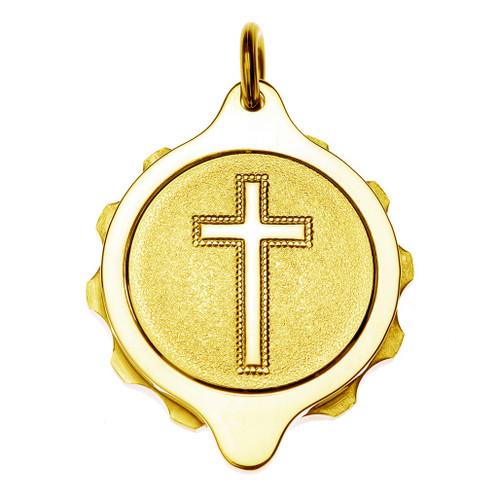 Gold Plated SOS Talisman Pendant - Christian Cross