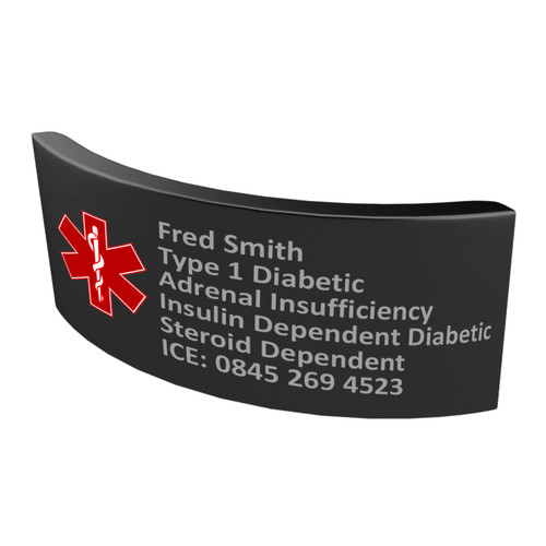 Spare / Replacement Long Black Tag with Red Medical Symbol