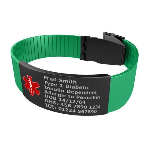 Medical Bracelet with Black Clasp / Tag Red Symbol