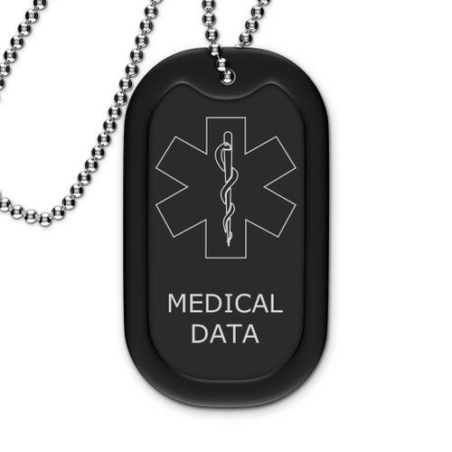 Black Medical Dog Tag - Outline