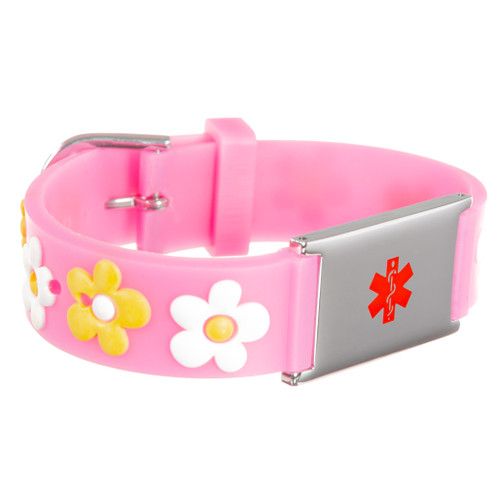 Kids Pink Daisy Engraveable Bracelet