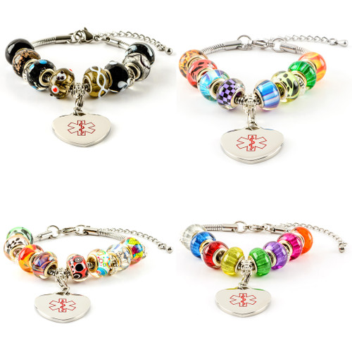 Beaded Pandora Style Bracelet with Engraveable Heart Charm (various styles)