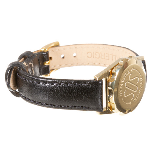 Gold Plated SOS Talisman Watch Style Nappa Polished Leather Strap - 12mm
