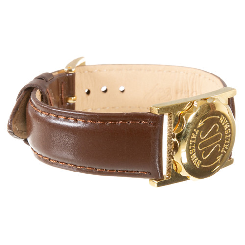 Gold Plated SOS Talisman Watch Style Nappa Polished Leather Strap - 18mm